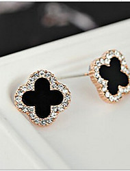 Stud Earrings Crystal Rhinestone Gold Plated Simulated Diamond 18K gold Fashion White Black Jewelry 2pcs