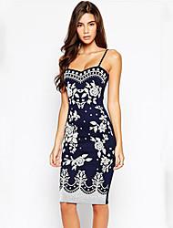 Women's Print Dress , Vintage/Print Strapless/Strap Sleeveless