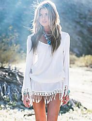 Women's Casual  Pure White Long Sleeve Beach Mini Dress with Tassels