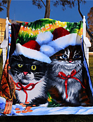 Christmas Party Fleece Blanket Manta Para Sofa Vivid Cat Blanket Best Christmas Gift Soft Warm Bedding