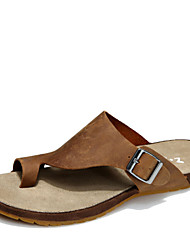 Zapatos de Hombre Exterior/Oficina y Trabajo/Casual Cuero Sandalias Marrón/Amarillo