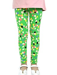 Girl's Spring Fall Candy Color Tights Cotton Footed Pants Dots Printed Leggings (Cotton)