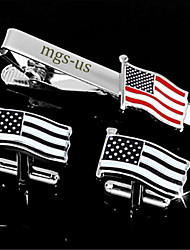 Personalized Gift Men's Engravable Silver Plain American USA Flag Pattern Cufflinks and Tie Bar Clip Clasp(1 Set)
