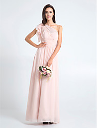 Lanting Bride® Floor-length Chiffon Bridesmaid Dress Sheath / Column One Shoulder Plus Size / Petite with Criss Cross