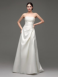 A-line Wedding Dress Floor-length Sweetheart Satin with Beading