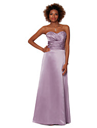 Formal Evening Dress Sheath/Column Strapless Floor-length Satin Chiffon