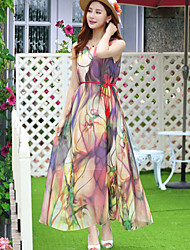 NUNEU   Women's Vintage Round Sleeveless Dresses (Chiffon)
