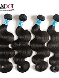 "4 Pcs Lot 8""-30""Indian Body Wave Virgin Remy Human Hair Extensions/Weave Bundles Natural Black Color 1B# Tangle Free"