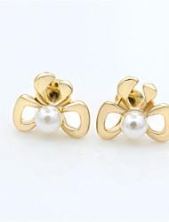 Boucle - en Strass/Imitation Perle/Plaqué Or - Vintage/Mignon/Soirée/Travail/Décontracté - Boucle d'Oreille Elégante