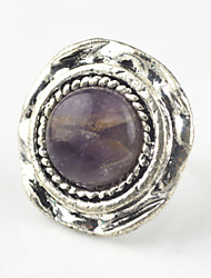 Vintage Look Antique Silver Round Turquoise Lava Tiger Amethyst Stone Free Size Ring(1PC)