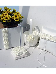 Bold Ivory Luxury Rose Lined Wedding Satin Collection Set (4 Pieces)