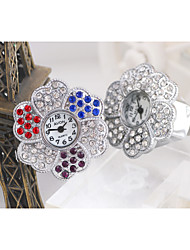 Sweet Flower Shape Quartz  With Drill Strap Ring Finger Watch(Silver)(1Pc) Cool Watches Unique Watches