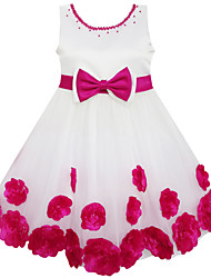 Girls Pearl Flower Belt Dance Party Wedding Pageant Princess Kids Clothing Dresses (Organza+Cotton)