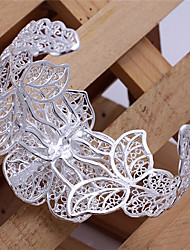 Feiku Women's Korean-style High Quality Silver-plated Flower Openable Bangle