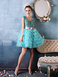 Cocktail Party Dress Ball Gown V-neck Short / Mini Lace / Organza / Charmeuse with Beading / Ruffles / Sash / Ribbon