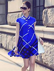 Women's Casual/Print Inelastic Short Sleeve Above Knee Dress (Silk)