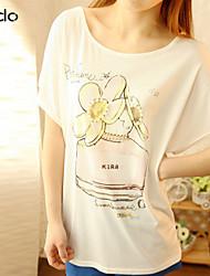 Women's Print Multi-color T-shirt Short Sleeve Beaded