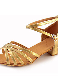 Children's Dance Shoes Sandals Leatherette Chunky Heel Gold/Silver
