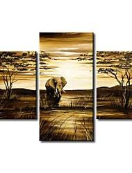 moderno africano pintura de época abstracta elefante jirafa pintado a mano óleo del paisaje en la lona 3pcs / set sin marco