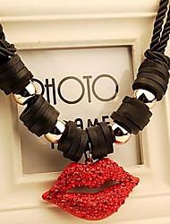 Nightclub Exaggerated Red Lip Collarbone Chain