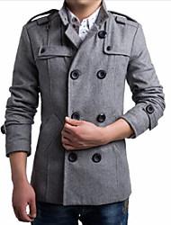 Men's Casual Long SleeveLong Section Coat (Wool)