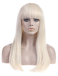 Long Straight Platinum Blonde Lady Gaga Poker Face' Wig Super Star Same Wigs