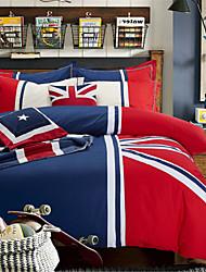 H&C 100% Cotton 900TC Duvet Cover Set 4-Piece Blue,Red and White Solid Color Joint  OT2-009