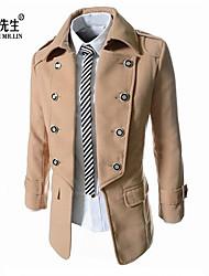 LINXIANSHENG® Men's Casual Pure Long Sleeve Regular Trench coat (Tweed)