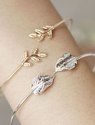 High-End Copper Casting Simple Leaves Bangles Cuff Bracelets