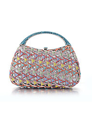 Miss Ricy Women's Silver Plating Alloy Rhinestone Crystal Evening Bag