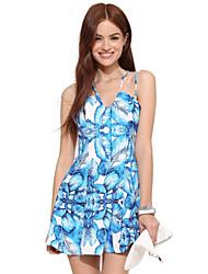 RICHCOCO® Women's Sexy Fresh Plant Printing Adjustable Cross Braces Dress
