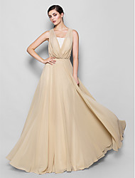 Lanting Bride® Floor-length Chiffon Bridesmaid Dress - A-line Strapless / V-neck Plus Size / Petite with Lace