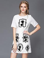 Summer Plus Size Women Clothing Fashion Vintage Elegant Slim Short Sleeve Casual/Party/Work Dress