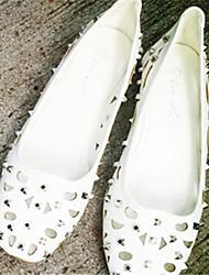 Women's Shoes   Flat Heel Square Toe Flats Casual White/Gray