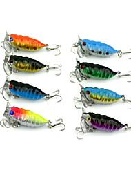 8 Pcs Hengjia Plastic Hard Fishing Lures 4CM 4.4G Crankbait 8#Hooks