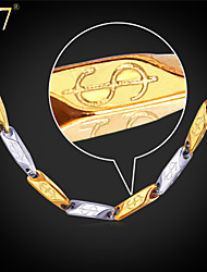 U7® Men's '316L' Stamp Stainless Steel Necklace 18K Real Gold Plated Fashion Two-Tone Dollar Necklace