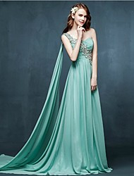 Formal Evening Dress A-line One Shoulder Sweep / Brush Train Chiffon with Appliques