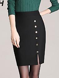 Women's Bodycon/Work Above Knee Skirts , Spandex/Polyester Micro-elastic/Random button