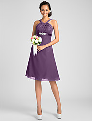 Lanting Bride® Knee-length Chiffon Bridesmaid Dress - A-line / Princess Jewel / Straps Plus Size / Petite withBeading / Sash / Ribbon /