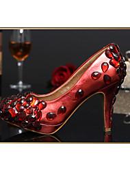 Women's Shoes Leather/Glitter Stiletto Heel Heels/Round Toe Pumps/Heels Wedding/Party & Evening/Dress WhiteTXF-SHOES0006