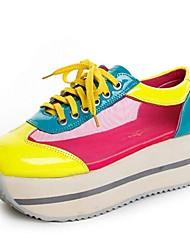 Scarpe Donna - Sneakers alla moda - Casual - Chiusa - Plateau - Finta pelle - Giallo / Rosso