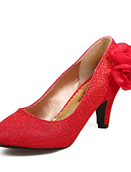 Women's Shoes Silk Chunky Heel Comfort Round Toe Pumps Wedding and Party More Colors available