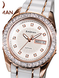 EASMAN® Brand Designer Rose Gold Ceramic Watch Women Zircon Gems Hot Fashion Date Day Quartz Watches Ladies Wristwatches Cool Watches Unique Watches