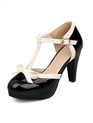 Zapatos de mujer - Tacón Cono - Comfort / Punta Redonda - Tacones - Exterior / Oficina y Trabajo / Vestido / Casual - Semicuero -Negro /