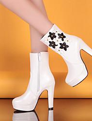 Women's Shoes Black/Brown/White Chunky Heel 10-12cm Boots (PU)