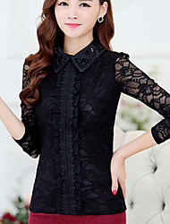 Women's Lace White/Black Blouse , Shirt Collar Long Sleeve Beaded