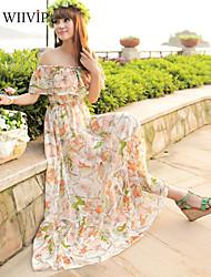 la parole d'impression en mousseline de soie de femmes missfox acheté Falbala vacances à la plage bohème robe spectacle mince robe