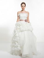 A-line Wedding Dress - White Chapel Train Strapless Organza