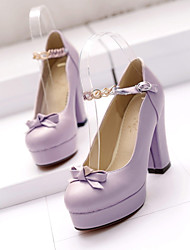 Women's Shoes Tulle/ Chunky Heel Heels/Closed Toe Pumps/Heels Office & Career/Dress/Casual Pink/Purple/White