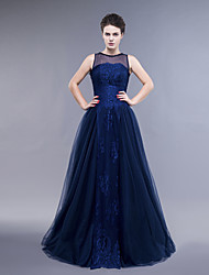 Dress A-line / Sheath / Column Jewel Floor-length Lace / Tulle with Beading